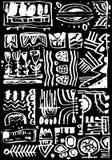 Черно-белый handmade этнический орнамент Соответствующий для предпосылок, комплексного конструирования, событий, места, страниц в иллюстрация штока
