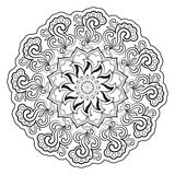 Черно-белая абстрактная картина, мандала Стоковое Изображение RF