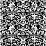 Черно-белая безшовная абстрактная предпосылка года сбора винограда цветочного узора Стоковое Фото