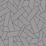 Черно-белая безшовная картина, геометрическая предпосылка с вплетая линиями, Стоковые Фотографии RF