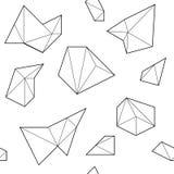 Черно-белая безшовная картина с полигональными формами Стоковая Фотография RF