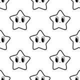 Черно-белая безшовная картина с характером звезды Стоковое Изображение