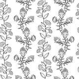 Черно-белая безшовная картина с цветками Стоковое Фото