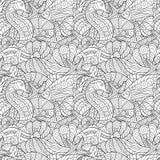 Черно-белая безшовная картина для книжка-раскраски пузыри копируют вектор текста космоса seaweeds моря жизни иллюстрации рыб Стоковые Изображения