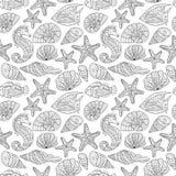 Черно-белая безшовная картина для книжка-раскраски пузыри копируют вектор текста космоса seaweeds моря жизни иллюстрации рыб Стоковое Фото