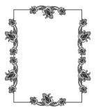 Черно-белая вертикальная абстрактная рамка с декоративными цветками Стоковые Изображения RF
