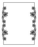 Черно-белая вертикальная абстрактная рамка с декоративными цветками Стоковая Фотография
