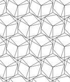 Черно-белая геометрическая безшовная картина с линией и шестиугольником Стоковые Изображения