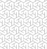 Черно-белая геометрическая безшовная картина с линией и шестиугольником иллюстрация штока