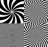 Черно-белая гипнотическая психоделическая спираль с радиальными лучами, картина собрания предпосылки twirl установленная вектор иллюстрация вектора