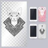 Черно-белая животная голова кота Иллюстрация вектора в случай телефона иллюстрация вектора
