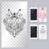 Черно-белая животная голова кота Иллюстрация вектора в случай телефона иллюстрация штока