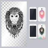 Черно-белая животная голова обезьяны Иллюстрация вектора в случай телефона иллюстрация штока