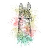 Черно-белая животная голова лошади, абстрактное искусство акварели, татуировка, эскиз doodle Стоковые Изображения RF
