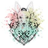 Черно-белая животная голова собаки, абстрактное искусство, татуировка, cketch doodle желтый цвет акварели стародедовской предпосы Стоковые Изображения