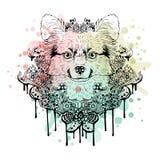 Черно-белая животная голова собаки, абстрактное искусство, татуировка, cketch doodle желтый цвет акварели стародедовской предпосы Стоковое Фото