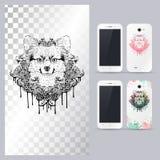 Черно-белая животная голова собаки Иллюстрация вектора в случай телефона Стоковые Изображения