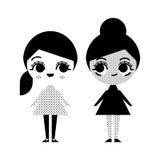 Черно-белая иллюстрация 2 девушек в винтажном стиле Стоковое Изображение