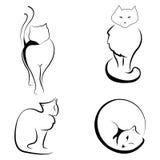 Черно-белая иллюстрация котов Стоковое Изображение