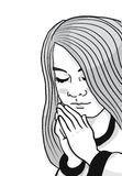 Черно-белая иллюстрация маленькой девочки с ее руками сложила говорить ее молитвы Стоковое Изображение