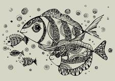 Черно-белая иллюстрация рыб Стоковые Фото