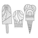 Черно-белая иллюстрация украшенного мороженого для книжка-раскраски Десерт, сладостная еда вектор иллюстрация вектора