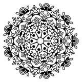 Черно-белая картина шнурка круга, снежинка дизайна рождества иллюстрация штока