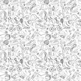 Черно-белая картина doodle спорта и фитнеса безшовная Стоковое Изображение RF