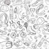 Черно-белая картина doodle спорта и фитнеса безшовная Стоковые Фотографии RF