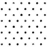Черно-белая краска картины точки польки безшовная Стоковое Фото