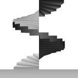 Черно-белая круговая предпосылка дизайна лестницы Стоковое Изображение