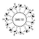 Черно-белая круглая рамка с милыми птицами и космос для текста Стоковое Изображение