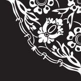 Черно-белая круглая флористическая предпосылка v конспекта угла границы Стоковое Изображение