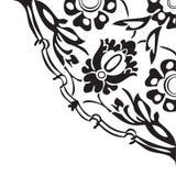 Черно-белая круглая флористическая предпосылка v конспекта угла границы Стоковое Изображение RF