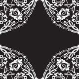 Черно-белая круглая флористическая предпосылка v конспекта угла границы Стоковые Фото