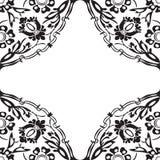 Черно-белая круглая флористическая предпосылка v угла границы Стоковые Изображения RF