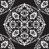 Черно-белая круглая флористическая предпосылка v угла границы Стоковая Фотография