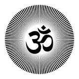 Черно-белая мандала tatoo хны вектора Символ OM декоративный Стоковые Изображения RF