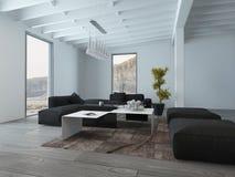Черно-белая мебель на живущей комнате Стоковая Фотография RF