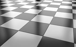 Черно-белая лоснистая керамическая предпосылка плиточного пола renderi 3D Стоковое Изображение