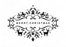 Черно-белая открытка рождества Стоковая Фотография