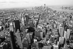 Черно-белая панорама Нью-Йорка Стоковая Фотография