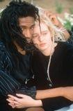 Черно-белая пара в влюбленности, город NY, NY Стоковое фото RF