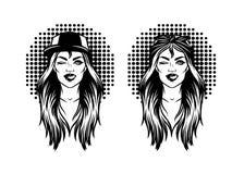 Черно-белая печать стороны маленькой девочки от 90s над предпосылкой полутонового изображения Иллюстрация штока