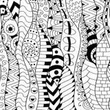 Черно-белая предпосылка контура Орнаментальная этническая картина иллюстрация штока
