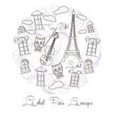 Черно-белая предпосылка с путешествием Eiffel бесплатная иллюстрация