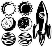 Черно-белая ракета и планеты Стоковое фото RF