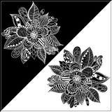 Черно-белая рамка с абстрактным изображением цветка Иллюстрация вектора