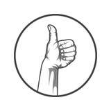 Черно-белая рука стиля с большими пальцами руки вверх также вектор иллюстрации притяжки corel Стоковая Фотография RF