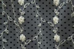 Черно-белая ткань шнурка с вышитыми цветками и точками польки Стоковые Фото